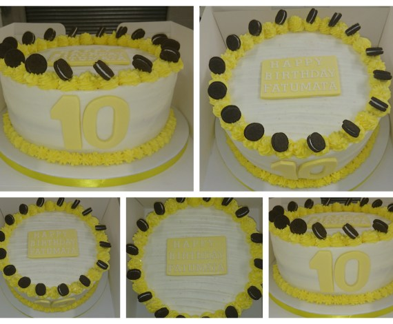 Yellow Oreo's Buttercream Delight Cake made by Your Treats Bakery – Find out more at www.yourtreats.co.uk or see more at our gallery here