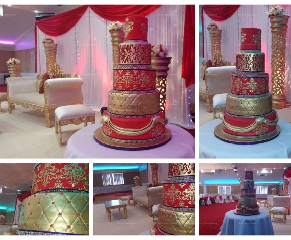 Asian Gold & Red Royal Cake