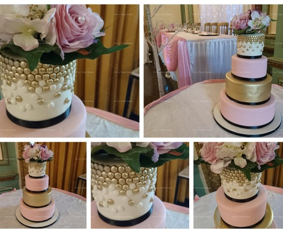 Gold Dots Pink Touch Tiered Cake