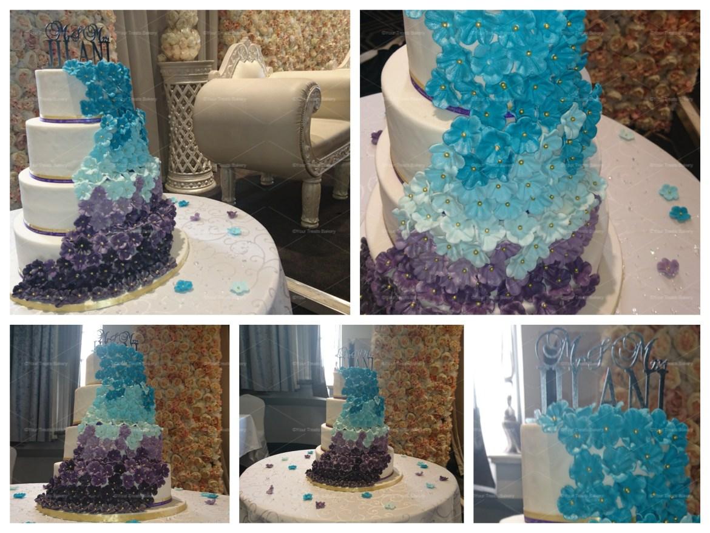 Peacock Effect Wedding Cake