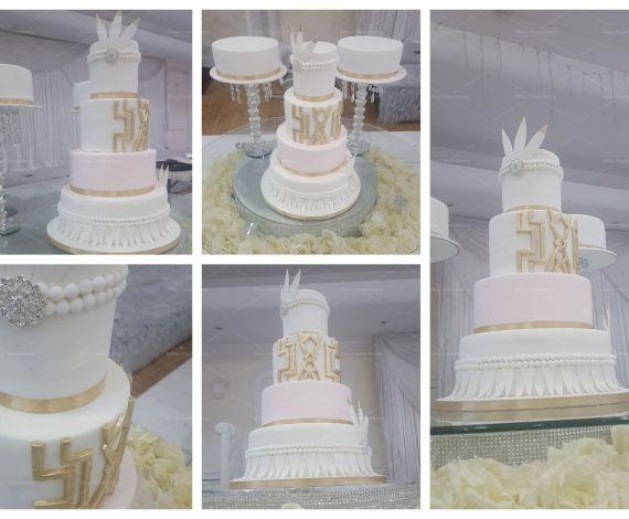 Art Deco Feathers Wedding Cake