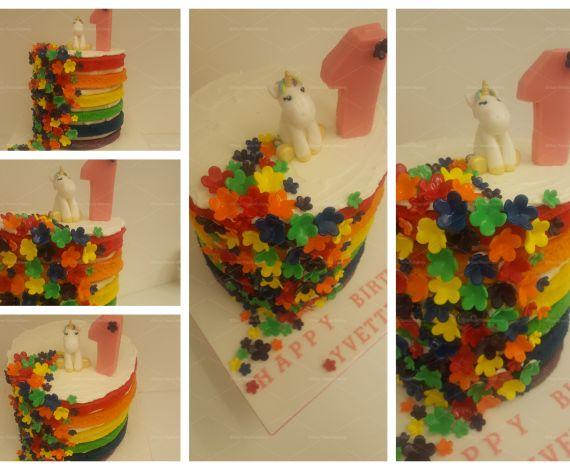 Naked Rainbow Unicorn 1 Cake