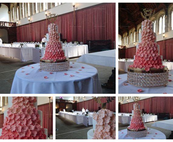 Peach Blossomed Ombre Wedding Cake