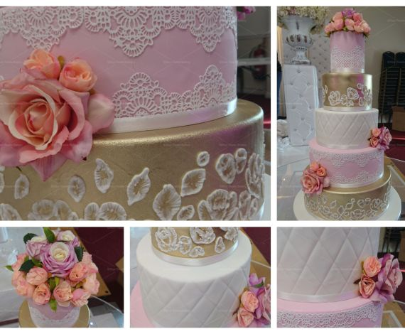 Pink Gold White Tier Cake