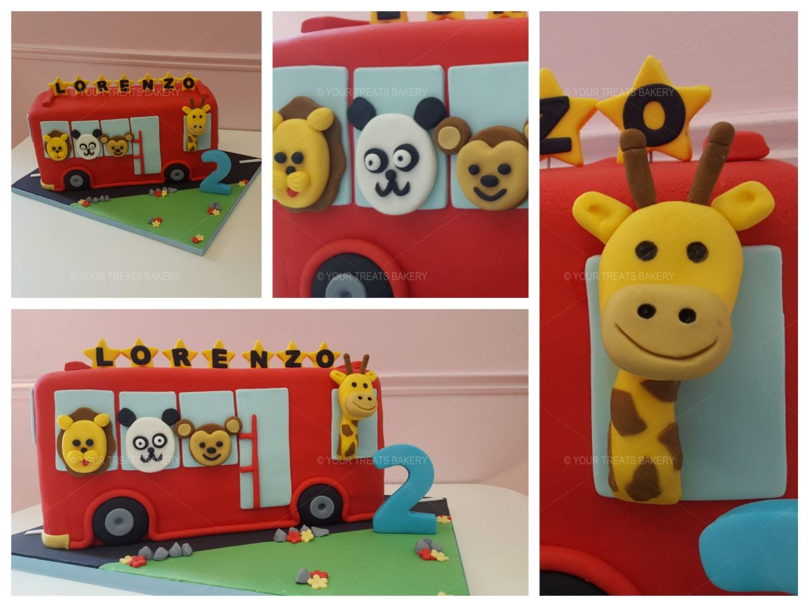 3D Animal Safari Bus Cake