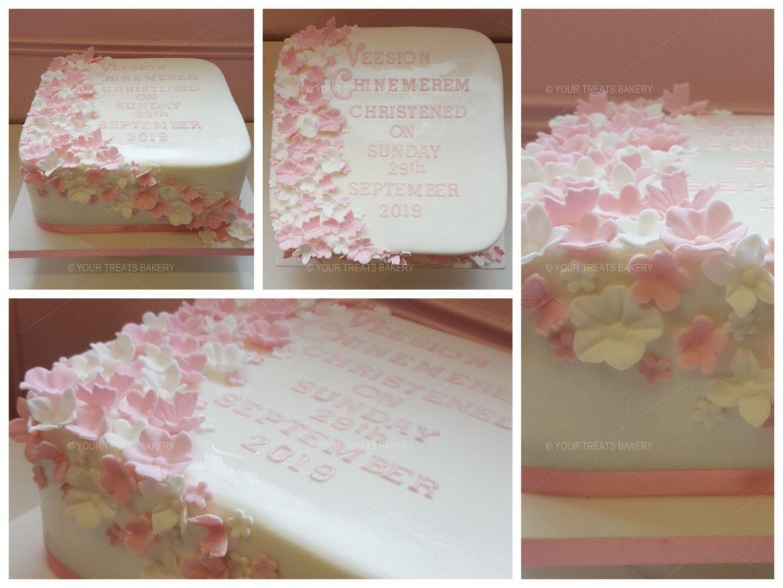 Flower Cascade Square Cake