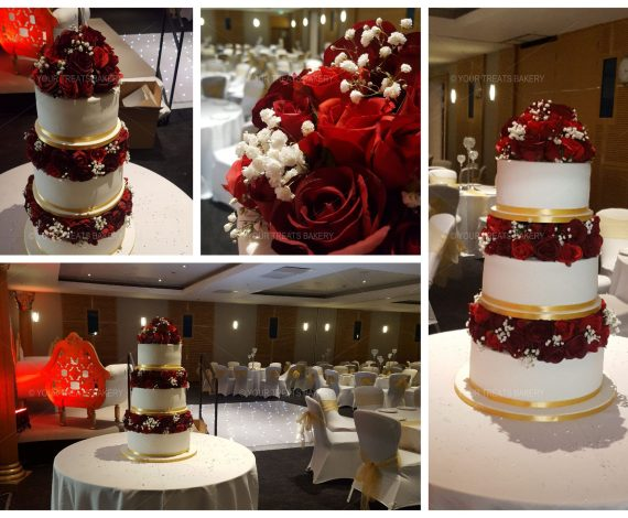 Red Rose Tower Wedding Cake