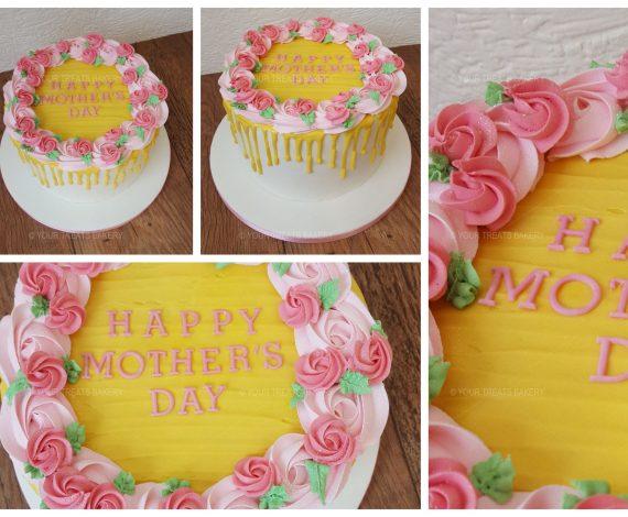 Rose Swirl Drip Buttercream Delight Cake