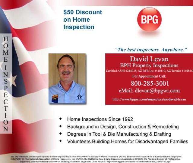 David Levan BPG Property Inspections, Discount on Home Inspections - Bill Salvatore, Realty Excellence East Valley - Arizona Elite Properties