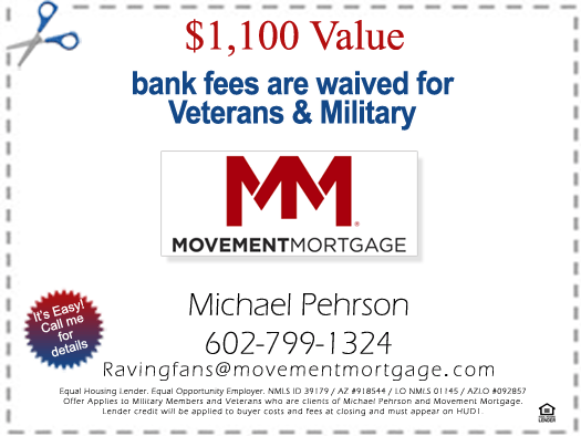 AZVHV Veterans Helping Veterans - Financing - Coupon - Michael Pherson, Movement Mortgage - Bill Salvatore, Realty Executives East Valley - 602-999-0952