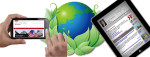 smart phone and tablet either side of green or energy saving earth symbol - smart home, energy saving, energy efficient, electronics - Bill Salvatore, Arizona Elite Properties - 602-999-0952