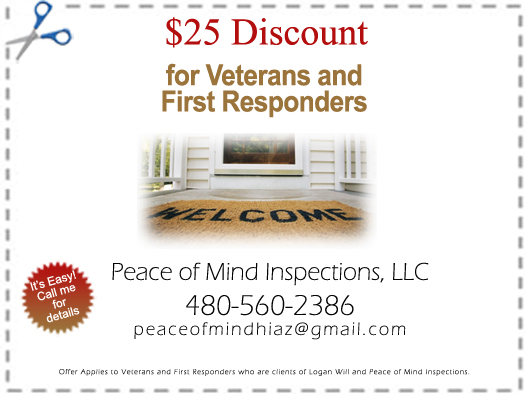 Home Inspection Discount Coupon - Peace of Mind Home Inspections - Logan Will