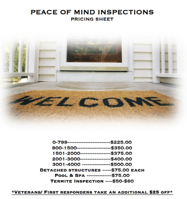 Peace of Mind Inspections Pricing Sheet