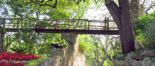 San Antonio, Texas - Japanese Tea Gardens, wood and stone bridge