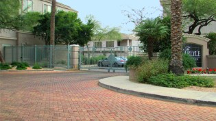brick paving and gated entrance with weathered iron look - 5303 N 7th St, Phoenix AZ - Gated entrance, convenient central Phoenix location - Bill Salvatore, Arizona Elite Properties 602-999-0952 - Arizona Real Estate