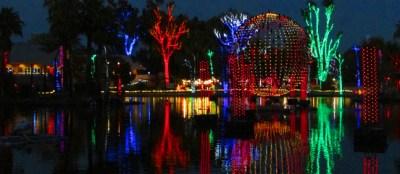 Christmas lights around lake for Lights in Motion at Phoenix Zoolights 2016 - Light display, christmas lights, holiday - Bill Salvatore, Arizona Elite Properties 602-999-0952 - Arizona Real Estate