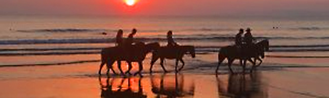 sunset and ocean behind horseback riders on the beach - Costa Rica homes for sale, Real Estate in Costa Rica, Costa Rica vacation rentals - Bill Salvatore, Arizona Elite Properties 602-999-0952 - Arizona Real Estate