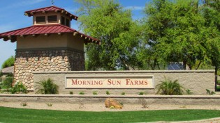 stone community monument at entrance to Morning Sun Farms - 1795 W Gold Mine Way, Queen Creek, Arizona 85142 - Morning Sun Farms - Bill Salvatore, Arizona Elite Properties 602-999-0952 - Arizona Real Estate