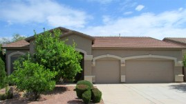 Single level home with fruit trees in front and 3-car garage - Single Level Golf Course Home - 1205 S Sandstone Street, Gilbert AZ 85396 - Western Skies Golf Community - Bill Salvatore, Arizona Elite Properties 602-999-0952 - Arizona Real Estate