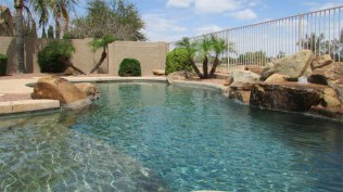 Sparkling blue pool and view of golf course - Random shape pebble tec pool - 1205 S Sandstone Street, Gilbert AZ 85396 - Western Skies Golf Community - Bill Salvatore, Arizona Elite Properties 602-999-0952 - Arizona Real Estate