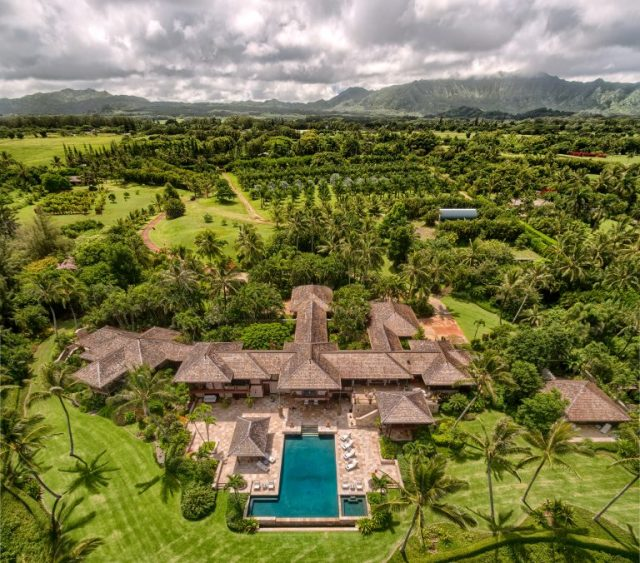 Aerial view of sprawling home with huge swimming pool and 15 acres of greenery, orchards, mature trees and gardens - Most Expensive Home in Hawaii via RIS Media - Bill Salvatore, Arizona Elite Properties 602-999-0952 - Arizona Real Estate