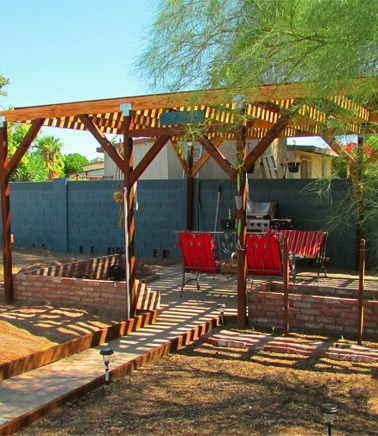 Prepared garden are, cement walkway to pergola covered patio - Garden Area and Private Patio - 161 N 88th Place, Mesa AZ - Bill Salvatore, Arizona Elite Properties - Mesa homes with a large yard