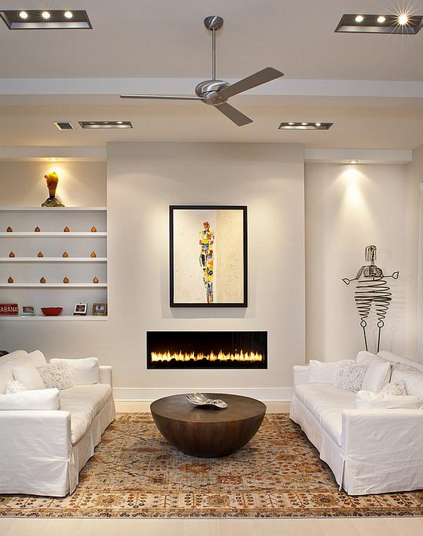 white room with wood floor and flush, horizontal, gas log fireplace - Contemporary fireplaces, homes for sale with a fireplace - Bill Salvatore, Arizona Elite Properties 602-999-0952 - Arizona Homes for Sale