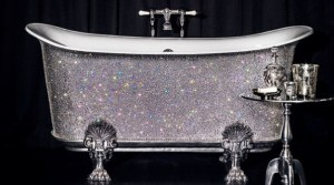 jewel encrusted, claw-foot bathtub - unusual living spaces - RIS bedazledBathroom-Source: DailyMail - Bill Salvatore, Arizona Elite Properties 602-999-0952 - Arizona Real Estate