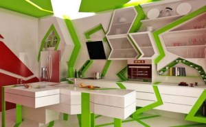 White kitchen with lime green accents in zigzag pattern on floor, walls and ceiling - unusual living spaces - RIS wackyKitchen-Source: UpToDesign - Bill Salvatore, Arizona Elite Properties 602-999-0952 - Arizona Real Estate
