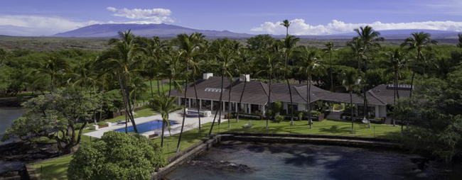 aerial shot of sprawling single-level home with pool and manicured ocean frontage - Hawaiian Waterfront Estate for Sale - Honuala'i Estate on the Big Island of Hawaii, Hawaiian Luxury Real Estate, Homes for Sale in Hawaii, via RIS Media Housecall - Bill Salvatore, Arizona Elite Propeties 602-999-0952 - Arizona Real Estate