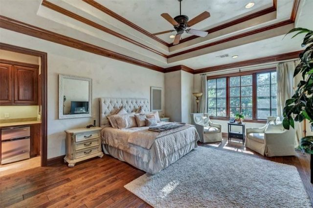 Spacious master bedrooms in grays and beiges with hardwood floor, wall of windows and trey ceiling - Dining Room - Selena Gomez's Fort Worth Texas Home for Sale - Bill Salvatore, Arizona Elite Properties 602-999-0952 - Arizona Real Estate