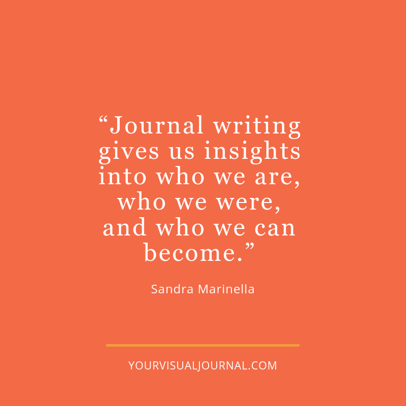 """Journal writing gives us insights into who we are, who we were, and who we can become."" - @sandramarinella"