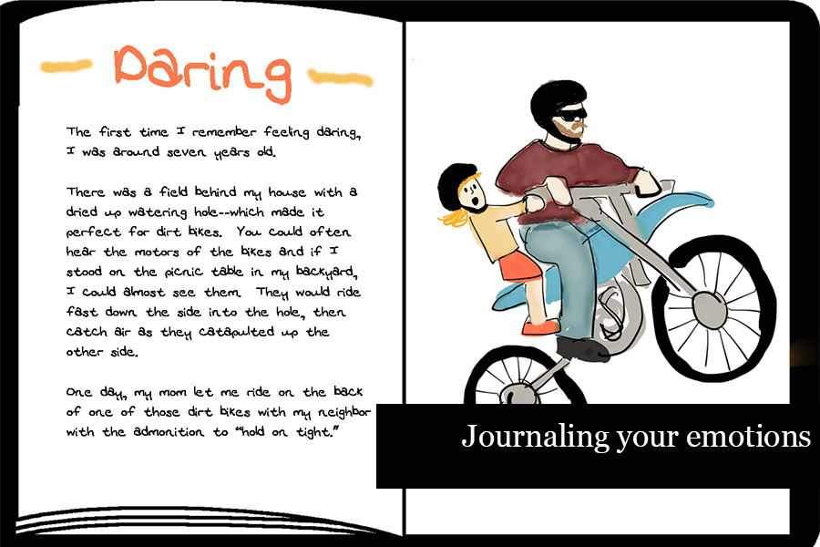 Journal pages with a story about feeling daring. Text says: Journaling your emotions
