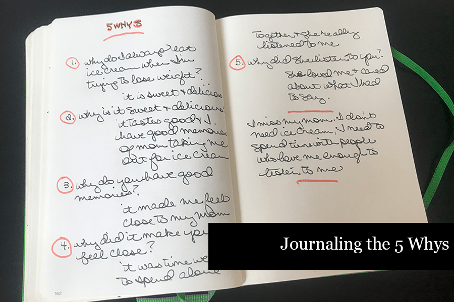 """Open Journal demonstrating the 5 why method of questioning yourself. Text says """"Journaling the 5 whys"""""""