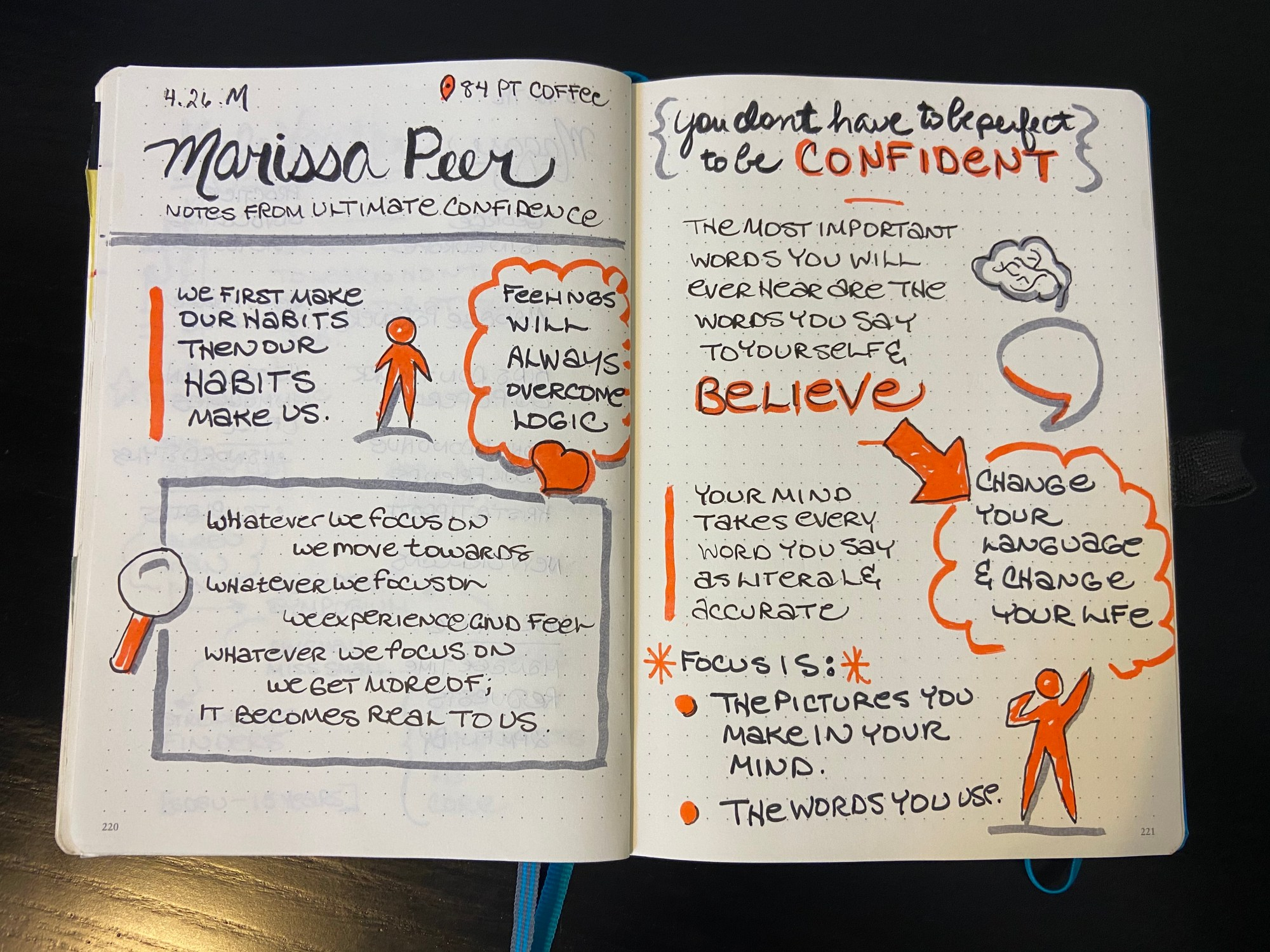 Open journal with sketchnotes from a workshop