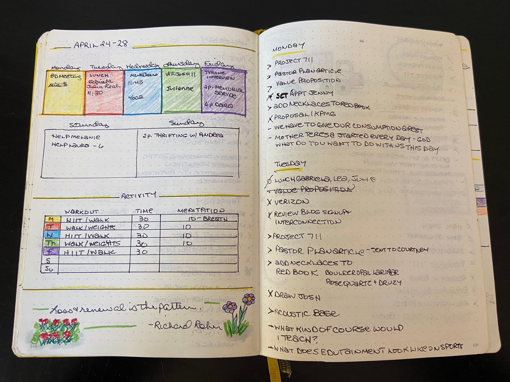 Bullet journal spread that contains week plus workout schedule plus daily log