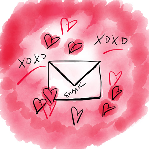 Hand drawn love note with x's and o's to represent journal prompts for self love Image by Cathy Hutchison