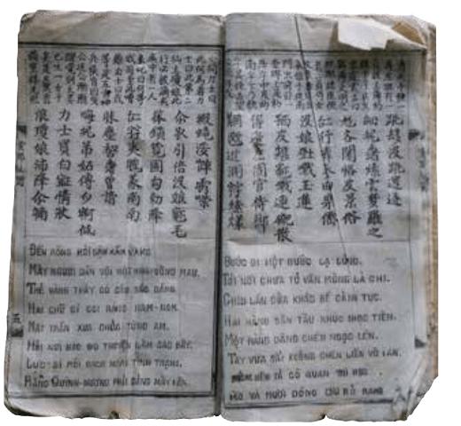 泛黃的古書,上段為漢文意譯,中段為越南人發明的漢喃文,下段為越文。