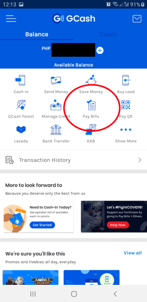 gcash home screen pay bills