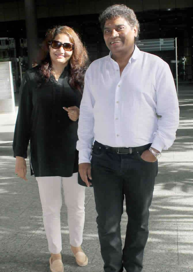 Johnny Lever with his wife Sujatha Johnrao