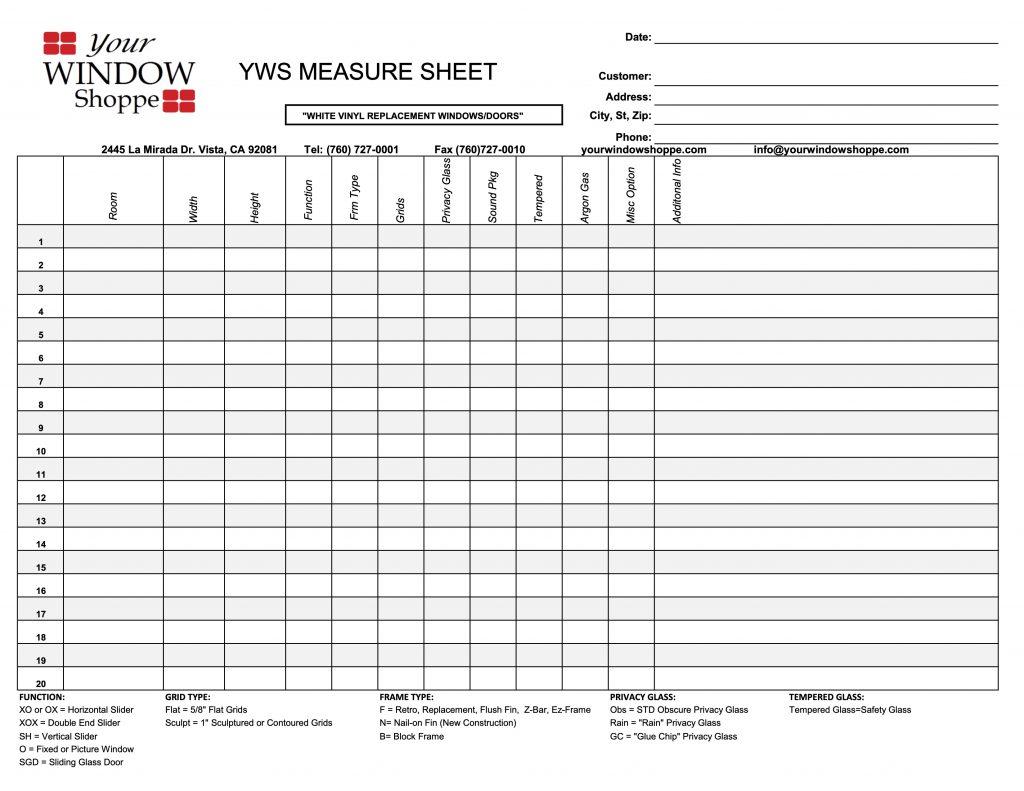 Rough Measure Sheet