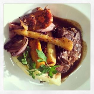 Comfort food. Braised beef cheeks, roasted root veg and mash