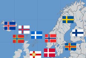 北欧の地図と国旗(Wikipediaより 作者:RoyalKiev