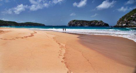 Praia do Leao beach walkers