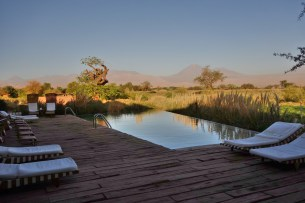 Tierra Atacama pool at sunset