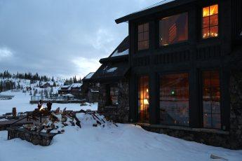 Devil's Thumb Ranch lodge at dusk