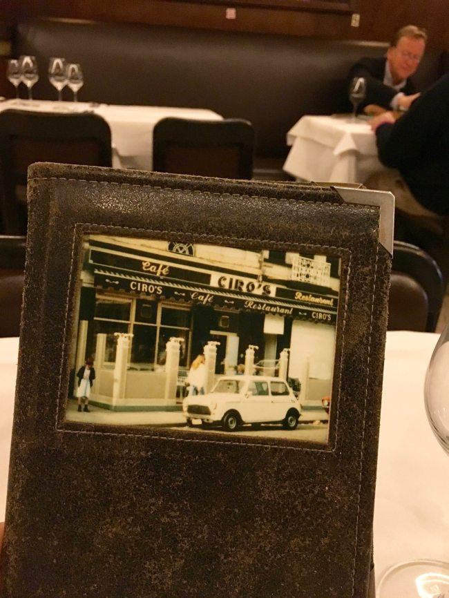 Antwerp Ciro's Restaurant menu