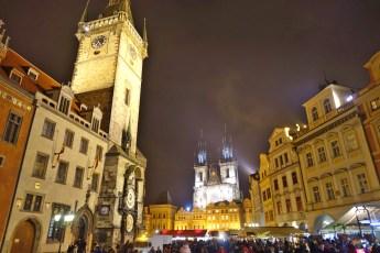 Prague square at night
