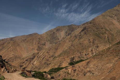 Hiking in the High Atlas barren slopes