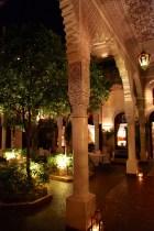 La Villa des Orangers walkway at night